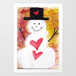 Two Hearts of Love Snowman Art Print