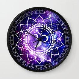 om mandala: purple blue space Wall Clock