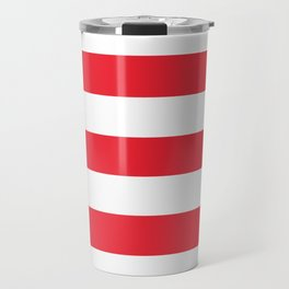 Sprint Red -  solid color - white stripes pattern Travel Mug
