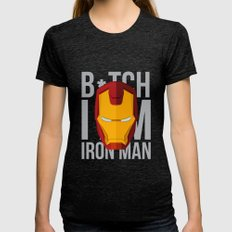 B*tch i'm ironman Tri-Black LARGE Womens Fitted Tee