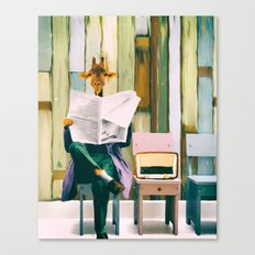 Giraffe reads the paper... Canvas Print