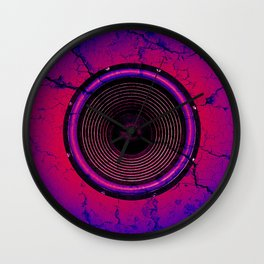 Red music speaker on a cracked wall Wall Clock
