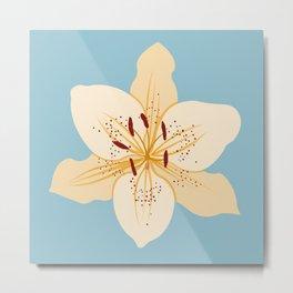 Day Lily Illustrative Art on Light Blue Metal Print