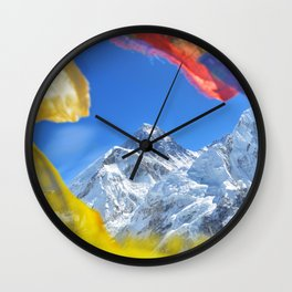 Summit of mount Everest or Chomolungma - highest mountain in the world, view from Kala Patthar,Nepal Wall Clock