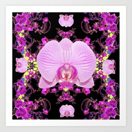 Purple Orchids Pattern Fantasy Yellow Black Art Pattern Art Print