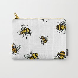 Just Some Beez A - White Carry-All Pouch