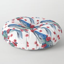 whale and red flowers seamless pattern Floor Pillow