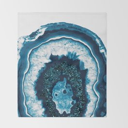 Blue White Agate with Blue Glitter #1 #gem #decor #art #society6 Throw Blanket