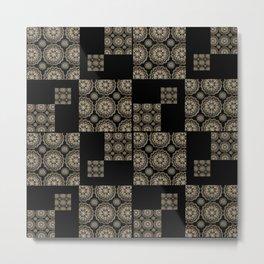 Large Rose-Gold and Black Floral Mandala Textile Piece Metal Print