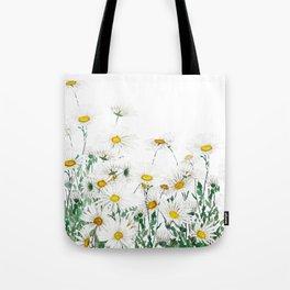 white margaret daisy horizontal watercolor painting Tote Bag