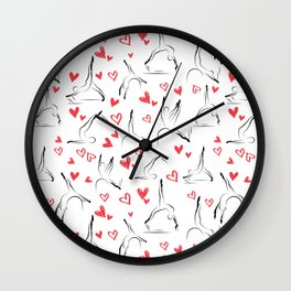 Pilates poses and heart seamless pattern Wall Clock