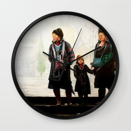 Hmong women at Bus Stop Wall Clock
