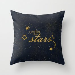 Under the stars- sparkling gold glitter night typography Throw Pillow