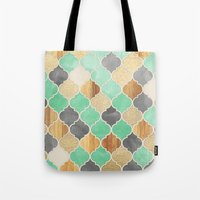 bedding Tote Bags featuring Charcoal, Mint, Wood & Gold Moroccan Pattern by micklyn