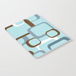 Retro Square Geometric Pattern Brown White Blue Notebook