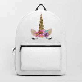 Floral Trendy Modern Unicorn Horn Gold Confetti Backpack