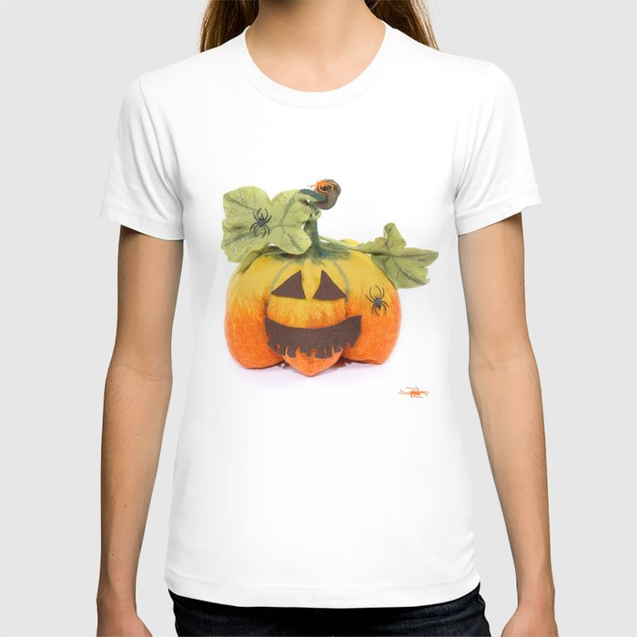 Pumpkin handmade from felted wool for celebration of Halloween T-shirt