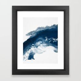 Building the Universe:  A minimal abstract acrylic painting in blue and white by Alyssa Hamilton Framed Art Print