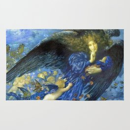 Night with her Train of Stars by Edward Robert Hughes Rug