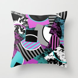 Cluttered Sqaures - Abstract, geometric, stripes, pink, cyan, blue, textured, black, white, arcs Throw Pillow