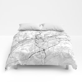 Minimal City Maps - Map Of Birmingham, Alabama, United States Comforters
