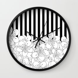 Cherry Blossom Stripes - In Memory of Mackenzie Wall Clock
