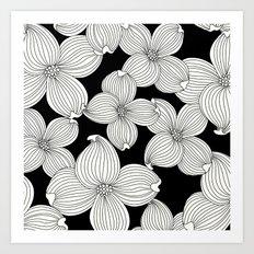 Dogwood Floral Linear: Ivory on Black  Art Print