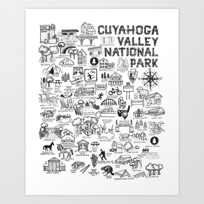 Cuyahoga Valley National Park Map Art Print by fiberandgloss