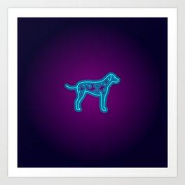 NEON DALMATIAN DOG Art Print