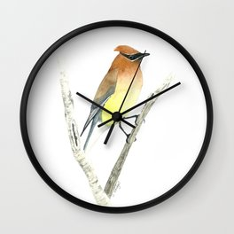 Cedar Waxwing in Watercolor Wall Clock
