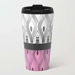Art Deco 55 . White black and pink textures . Travel Mug