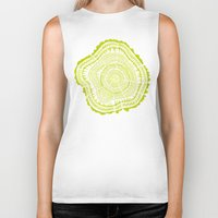 tree rings Biker Tanks featuring Lime Tree Rings by Cat Coquillette
