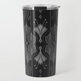 Art Deco Leaf Shapes Black Grey Travel Mug