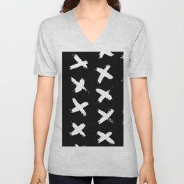 The X White on Black Unisex V-Neck