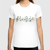 music notes T-shirts featuring Rainbow Music Notes on Black by GBC Design