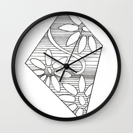 black and white geo floral Wall Clock