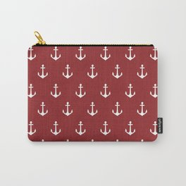Maritime Nautical Red and White Anchor Pattern - Medium Size Anchors Carry-All Pouch