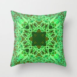 Ornate Green Celtic Mandala Rug Throw Pillow