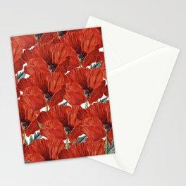 Vintage red orange poppy floral pattern Stationery Cards