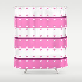 Hearts In A Row Shower Curtain