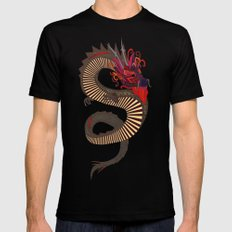 DRAGON INK turquoise MEDIUM Black Mens Fitted Tee