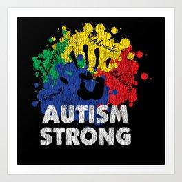 Vintage Autism Strong Autistic Kids Awareness Gift Art Print