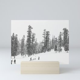 Sledding // Snowday Winter Sled Hill Black and White Landscape Photography Ski Vibes Mini Art Print