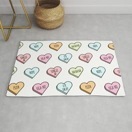 Sassy Valentines Candy Heart Pattern Rug