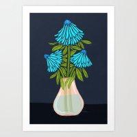 Blue Echinacea Art Print