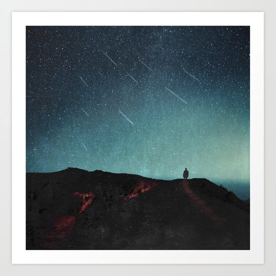 night of falling stars Art Print