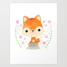 Japanese red fox Art Print