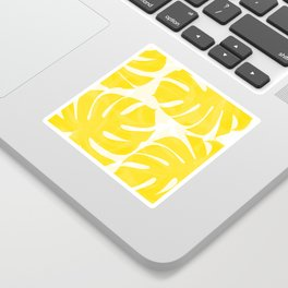 Mellow Yellow Monstera Leaves White Background #decor #society6 #buyart Sticker