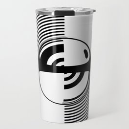 Experimentation with vector design on sphere glass reflection, 3D ambient. Version C. BW. Travel Mug