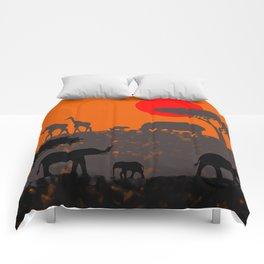 Elephants in the savanna Comforters